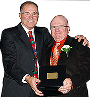 Brian Tremblay presents Boys & Girls Club Hall of Fame award to Bob Molloy