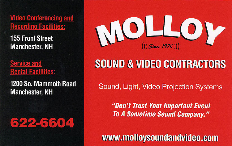 Molloy Sound & Video Contractors, 1200 South Mammoth Road, Manchester, NH 03109 | 603-622-6604