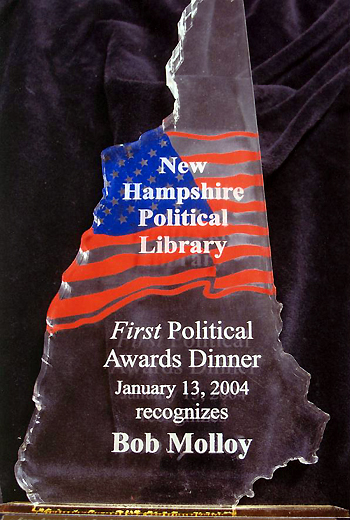 Bob Molloy's award from the New Hampshire Political Library - January 13, 2004