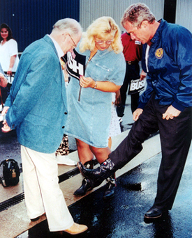 Bob and Lorene Molloy compare boots with President George W. Bush at a private reception